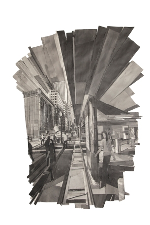 "Mark Lewis (b. 1959). ""Boston Avenue (Looking North),"" 2011-2012. Graphite and paper collage, 81 x 58 in. Courtesy of the artist"